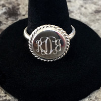 Monogram Ring, Sterling Silver braided round ring, Christmas present, available in monogram or in all sorority letters!