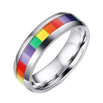 LineAve Unisex Stainless Steel Gay Lesbian LGBT Pride Ring Rainbow Wedding Band Men or Women
