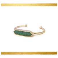 Green Druzy Bangle, 24K Gold Plated Drusy Bar Bracelet, Drusy Bangle, Boho Bangle, Valentine's Day Gift Gold Bohemian Jewelry Bridesmaid