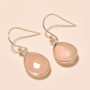 Rose Quartz 925 Sterling Silver Earrings Handmade Earrings Fine Earrings Gemstone Earrings Beauty Earrings Silver Earrings