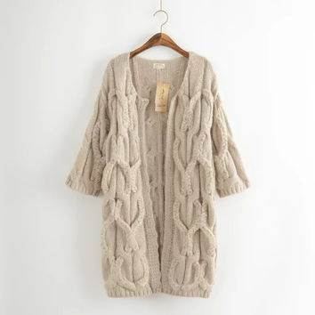 Japanese Mori girl Fall New Loose Solid Twist Sweater Cardigan Women Casual Knitting Jackets Female knitwear Knitted Coats