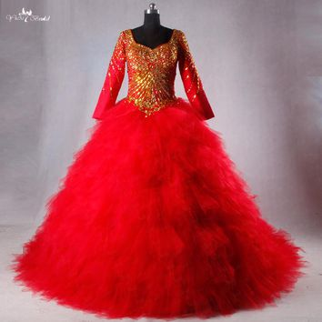 TW0227 Hot Sale Red Wedding Dress With Golden Beads Luxury 3D Swirled Tulle Ball Gown Real Photos For Middle East Brides