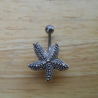 Starfish Belly Button Ring  - Belly Button Ring - Silver Starfish Naval Ring - Body Jewelry