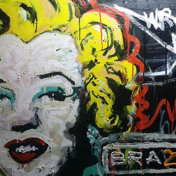 Marilyn Monroe Art Large Surreal Painting Pop Art Painting Large Canvas Wall Art Sexy Art Dark Art Adult Art Large Wall Art Gifts for Him