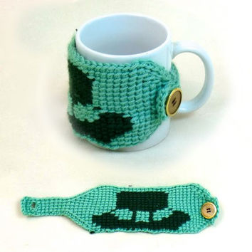 Cozy Cup Warmer Leprechaun Hat Coffee Crochet Green Coffee Mug St. Patrick