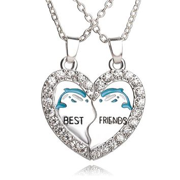 Blue Dolphin BFF Necklace Best Friends Necklaces Rhinestone Heart 2pcs animal Crystal Necklace For Bestfriend friendship forever