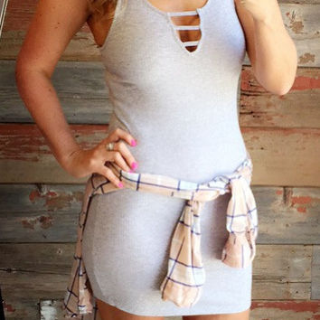 Ladder V Tank Dress: Grey