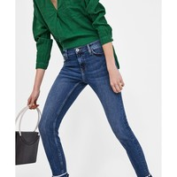 Z1975 JEANS WITH POMPOMS ON THE HEMS - Skinny-DENIM-WOMAN | ZARA United States