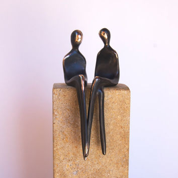 LGBT CAKE TOPPER >> Bronze sculpture of two girls makes an awesome wedding cake topper!  Becomes an attractive art piece for your home!
