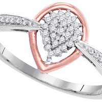 10kt White Gold Womens Round Diamond Cluster Rose-tone Teardrop Ring 1/8 Cttw 99483