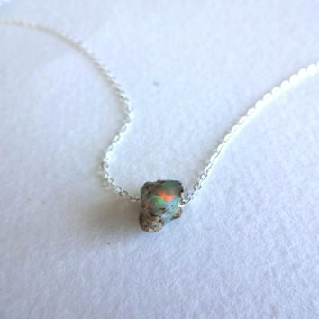Rough Opal Pendant and 925 Sterling Silver Chain by KalosandCo