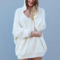 Beige Monsters Universe Fluffy Hooded Loose Fit Knit from xeniaeboutique