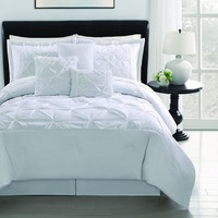 Denise 6-pieces White Soft Pintucked Comforter Set , Queen