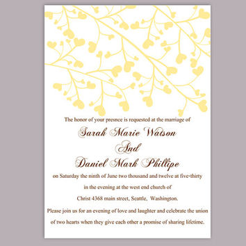DIY Wedding Invitation Template Editable Word File Instant Download Printable Yellow Invitation Elegant Wedding Invitation Heart Invitation