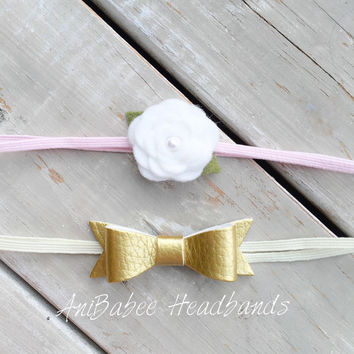 Baby Headband, Baby bow headband, White Felt Flower Headband, Gold Faux Leather Headband, Felt Headband, Gold Headband, Newborn Headband