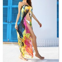 Sheer Floral Print Split Strapless Bikini/Swimsuit Cover Up Sarong