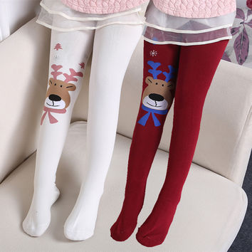 Winter Tights For Girls kids splice deer thick Stocking baby Kids Pantyhose Elasticity Girls Tights Christmas Tights Stocking