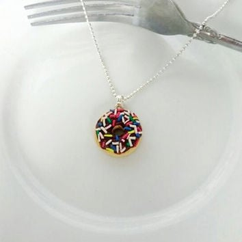 Food Jewelry, Scented Chocolate Donut with Sprinkles Necklace, Miniature Food, Polymer Clay, Kawaii, Foodie Gift
