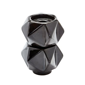 857130/S2 Small Ceramic Star Candle Holders In Black - Set of 2