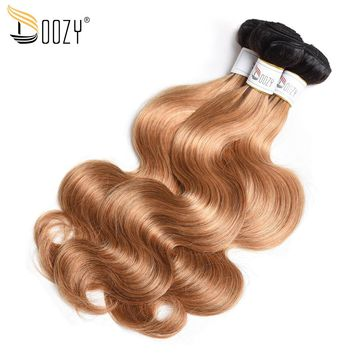 Doozy ombre 1b/27 Brazilian body wave hair bundles double weft hair extensions honey blonde remy human hair weaving