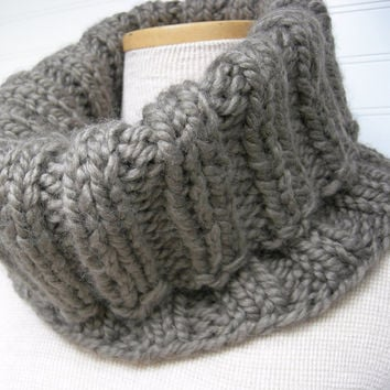Knit Cowl Scarf Nougat Taupe by WindyCityKnits on Etsy