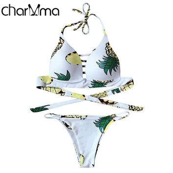 CHARMMA Sexy Pineapple Print Molded Cup Fuller Bust Bikini Set Women Swimwear Bikini Beach Bath White Halter Push Up Bikini