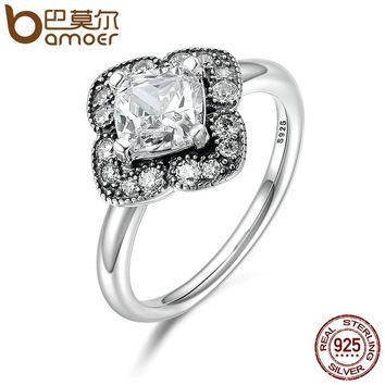 100% 925 Sterling Silver Crystalized Floral Fancy, Clear CZ Finger Rings for Women Anniversary Engagement Jewelry PA7636