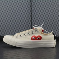 Converse Cdg Play Addict Fashion Canvas Flats Sneakers Beige
