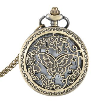 Lover Necklace Watch  Butterfly Flower Hollow Out Cover Quartz Pocket Watch Pendant Necklace Sweater Chain Gifts LL@17