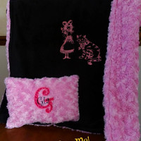 ALICE in Wonderland & CHESHiRE CaT BABY BLANKeT MiNKY EMBROiDERED PERSONALiZED Matching PILLOW avail Designs by Sugarbear