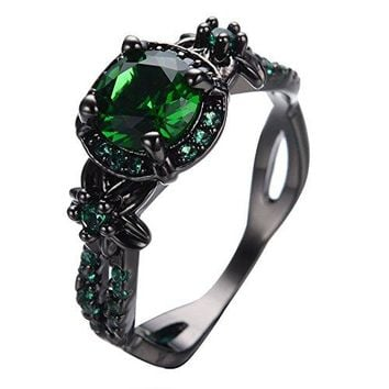 Womens Green Stone Round Lab Stone Engagement Wedding Best Friend Christmas Black Gold Plated Wedding Rings for Her  Bamos Jewelry Size 610