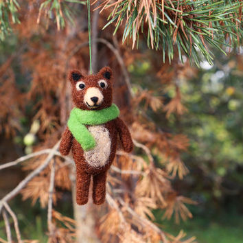 Needle Felted Bear, Felt Bear Ornament, Christmas Ornaments, Christmas Decorations, Christmas Gifts, Tree Ornaments, Bear Plush, Bear Doll