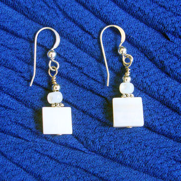 White Square Drop Earrings