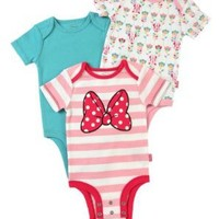 "Disney Cuddly Bodysuit with Grow an Inch Snaps,  Minnie Mouse ""Classic Bow"" 3 Pack, Pink/Blue/White, 0-3 Months"