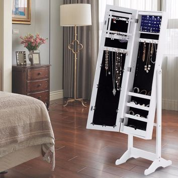 Mirrored Jewelry Cabinet with LED Light
