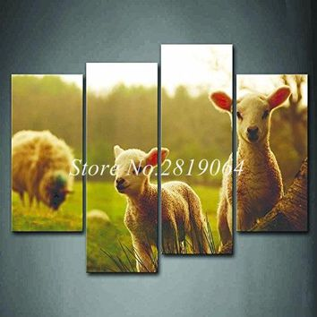 Sheeps Eating Grass Wall Art Painting The Picture Print On Canvas Animal Pictures For Home Decor Unframed