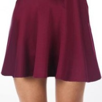 Adolescent Culture Solid Skater Skirt in Maroon | Sincerely Sweet Boutique