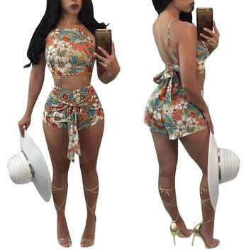 Print Backless Bowknot Crop Top with Shorts Two Pieces Set