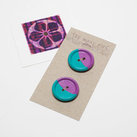 Hand painted wooden buttons (2), purple and turquoise, 25mm diameter + charity donation