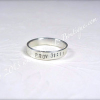 Personalized Hand Stamped Ring - Sterling Silver Bible Verse Jewelry - Christian Faith Ring