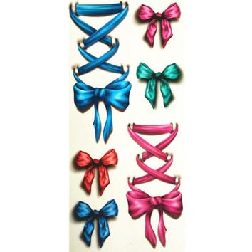 3D Lifelike Pretty Temporary Tattoo 19X9CM Color bow