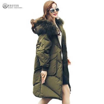 Real Raccoon Fur Collar Down Coat Winter Women Goose Feather Warm Hooded Parka White Duck Jackets Long Female Outerwear OKB327