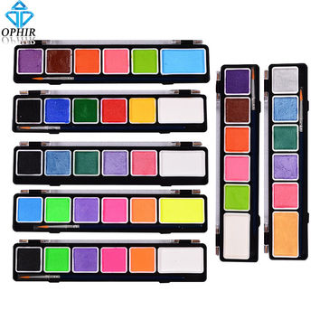 OPHIR Body Face Paint 6 Colors Set Pearl Fluorescent with Brush Makeup Pigment Model Paint for Halloween Temporary Tattoo_005