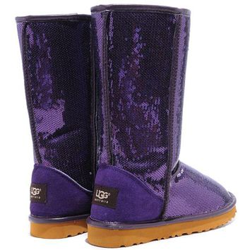 """UGG"" Fashion Winter Warm Women Wool Snow Boots Shoes Purple I"