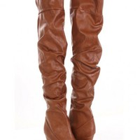 Chestnut Faux Leather Slouchy Thigh High Wedge Boots @ Amiclubwear Boots Catalog:women's winter boots,leather thigh high boots,black platform knee high boots,over the knee boots,Go Go boots,cowgirl boots,gladiator boots,womens dress boots,skirt boots,pink