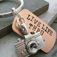 Camera Key Chain, Live Life Thru A Lens, your choice of key ring or lobster clasp, photographer, photography