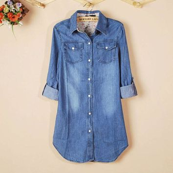 KLV New Hot Sale 1PC New Women's Casual Long Sleeve Vintage Blue Denim Shirt Tops Blouse Brand New High Quality
