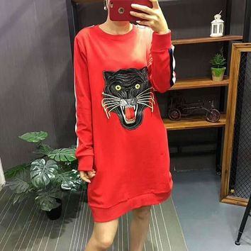 GUCCI Fashion Casual Straps Tiger Embroider Hooded Hoodies Sweatshirt Top G-A-GHSY-1