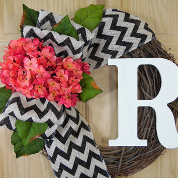 Wreath - Hydrangea Wreath - Spring wreath - monogram wreath.grapevine wreath,summer wreath.housewarming gift,wedding decor,outdoor wreathw