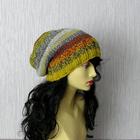 Multi Colored Knit Beanie - Hand Knit Hat - OOAK Colorful Women Hat - Slouchy Hat - Chunky Knit Hat - Women Beanie - Chunky Knit